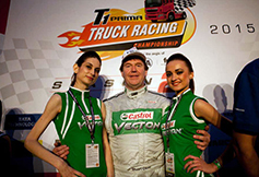 Cheerleader with Castrol Vecton Truck Driver